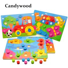 Educational Wooden Toys Tangram/Jigsaw Board Cartoon Puzzle Jigsaw Kids Early Education for Children //Price: $9.95 & FREE Shipping //     #educationaltoysfortoddlers