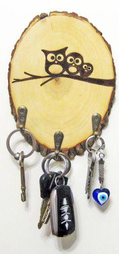 wood slice key rack cute owls More