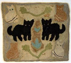 19Th C Early Hooked Rug.