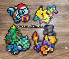 Pokemon Christmas Theme Perler Beads Sprite