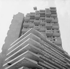 Cotton Gardens estate, Kennington, Central London, 1968. (Photographed by Henry Grant) From 20thcenturylondon.org.uk: 'The Wates firm constructed the Cotton Gardens estate, Kennington Lane, for Lambeth Borough Council. Three 22-storey towers, named Ebenezer, Fairford and Hurley Houses, were built to complicated designs using pre-fabricated construction methods. Henry Grant photographed various building projects, documenting the changes in architectural production during the 1960s.'