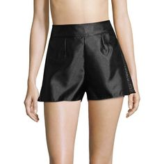 La Perla Women's Satin Shorts - Black, Size 1/s ($270) ❤ liked on Polyvore featuring shorts, black, la perla, pleated shorts, woven shorts, see through shorts and cuffed shorts