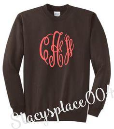 monogrammed sweater, monogrammed sweat shirt, monogrammed shirt, personalized sweater, brown sweater