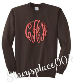 monogrammed sweater, monogrammed sweat shirt, monogrammed shirt, personalized sweater, brown sweater