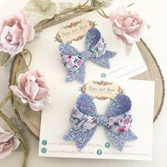Lilac Floral Glitter Hair Bow lilac Double Sided Glitter Bow