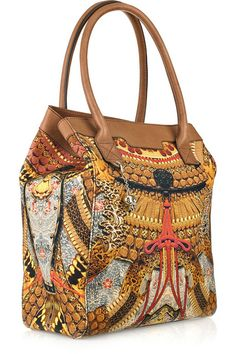 Canvas printed Tote Bags | Alexander McQueen printed canvas and leather tote 2