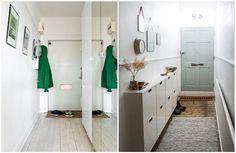 Ремонт маленькой прихожей: полностью покрашенная прихожая Narrow Entryway, Entryway Mirror, Entryway Paint Colors, Painted Wainscoting, Small Hallways, Healthy Living Magazine, Kids Storage, Building Plans, Ikea Hack