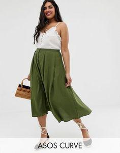 5126611251 ASOS DESIGN Curve Button Front Floaty Midi Skirt | ASOS Plus Size Womens  Clothing, Plus