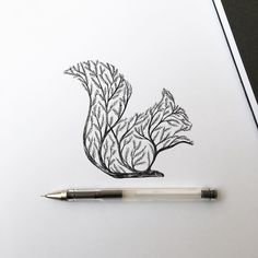 Squirrel Tree #ink #tattoo #drawing #squirrel