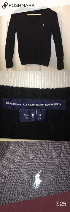 RALPH LAUREN SPORT Polo Cable Knit Sweater sz S Soft V-neck pullover sweater with the polo accent💕❤️💕good used condition💕❤️💕HAPPY POSHING MY FRIENDS💕❤️💕 Ralph Lauren Sweaters V-Necks