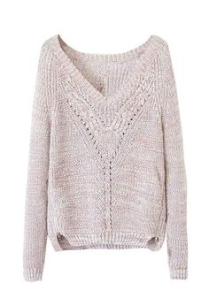 Size-Zip V-Neck Sweater #sweater #top