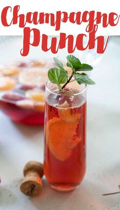 Champagne punch is my go-to recipe for holiday parties, wedding showers, and girl's nights. Packed with fruit and just enough sweetness, you'll love this delicious bubbly punch! Prosecco Cocktails, Fun Cocktails, Cocktail Drinks, Cocktail Recipes, Party Food And Drinks, Holiday Drinks, Holiday Parties, Drinks Alcohol Recipes, Yummy Drinks