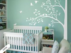 White Tree Wall Decal Huge Corner Tree with Leaves and Birds Nursery Decor Large Tree Mural White Whimsical Tree Wall Sticker 011 USD) by StudioQuee Bird Nursery, Nursery Room, Nursery Decor, Aqua Nursery, Project Nursery, Nursery Design, Nursery Ideas, Nursery Stickers, Nursery Wall Decals