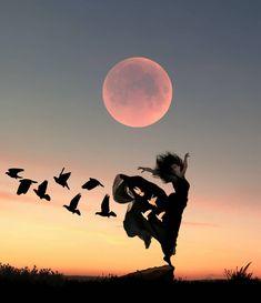 Raindrops and Roses: Photo Moon Photography, Creative Photography, Collage Foto, Photo Collages, Backgrounds Wallpapers, Shadow Art, Beautiful Moon, Silhouette Art, Moon Art