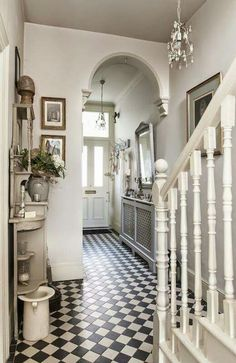 Treasure trove - monochrome tiles bring the victorian hallway to life house Tiled Hallway, House Inspiration, House Styles, House Design, Vintage House, New Homes, Victorian Hallway, House Interior, Victorian Homes