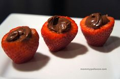 Nutella stuffed strawberries; easy dessert for kids or adults!