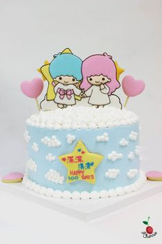 Little Twin Stars Birthday Cake Icing cookies