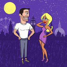 Dating | London at night | Beautiful man + lady | London Eye | Big Ben | St Paul's Cathedral Illustration + design by Robert Grieves / BERT Animation