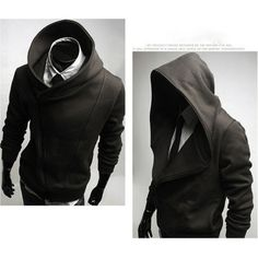 Capuche avec un zip asymétrique.  /  Hoodie with side-zip.