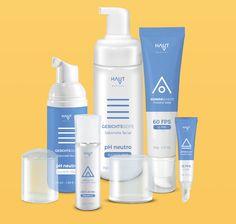 Linha de produtos para cuidados diários para a Haut Medical, empresa de dermocosméticos. Imagens meramente ilustrativas.