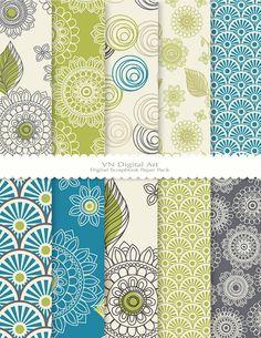 """Digital Paper, Doodle Flower Digital Scrapbook Paper Pack (8.5x11""""-300 dpi) -- Instant Download -- 10 Digital papers -- 355 on Etsy, $3.00"""