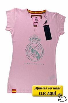 Camiseta rosa del Real Madrid para mujer. Escudo...  real  madrid b03ae4ac1288b