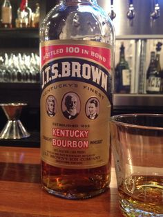 JTS Brown 100 proof. Noteable for being Paul Newman's bourbon in The Hustler. Oaky and hot on the nose, delicious caramel splash on first taste that immediately explodes from front to back. Like setting a fire on your tongue, but one that has flavor. If you like em hot, you'll love this.