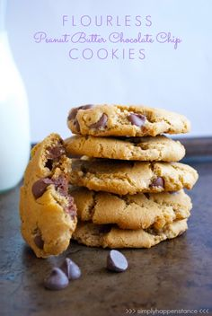 Flourless Peanut Butter Chocolate Chip Cookies {via Simply Happenstance} #cookies #peanutbutter #glutenfree.  Easily done egg free and use my diy choc chips.
