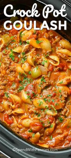 Crockpot Goulash is an easy to make slow cooker meal! Tender ground beef, bell p.- Crockpot Goulash is an easy to make slow cooker meal! Tender ground beef, bell peppers and onions are simmered in a zesty tomato sauce all day for the perfect meal. Crock Pot Recipes, Crockpot Dishes, Crockpot Drinks, Chicken Recipes, Casserole Recipes, Shrimp Recipes, Salmon Recipes, Casserole Crock Pot, Crock Pot Stew
