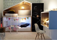 mommo design: BUNK BEDS j'adore le lit et l'idée pour le bureau Kids Corner, Baby Bedroom, Girls Bedroom, Kid Beds, Bunk Beds, Ideas Habitaciones, Deco Kids, Kids Room Design, Kid Spaces