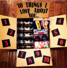 "Things I Love About You"" Deployment Care Package Boyfriend Care Package, Boyfriend Gifts, Craft Gifts, Diy Gifts, Military Deployment, Military Wife, Deployment Gifts, Missionary Mom, Deployment Care Packages"