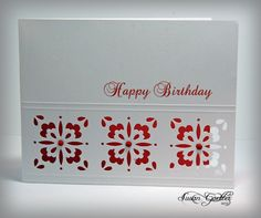 """handmade card ... Martha Stewart """"anywhere"""" punch created three tile blocks ... negative space backed in red ... luv the lacy look from this detailed punch ... clean and simple design ... lovely card ..."""