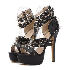 Sexy Pumps Metal Rivets Open Toes Black Faux Leather Stiletto Heels for sale Open Toe High Heels, High Heels Stilettos, Stiletto Heels, Shoes Heels, Strappy Heels, Punk Shoes, Womens Summer Shoes, Thing 1, Black Faux Leather