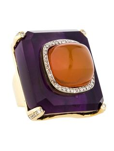 Kara Ross Amethyst, Fire Opal and 1.00ctw Diamond Ring - Jewelry - FJR22199 | The RealReal by carter flynn