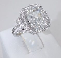 5.04CT G COLOR RADIANT CUT DIAMOND MATCHING 0.70CT PAVE HALO 18K ENGAGEMENT RING | Jewelry & Watches, Fine Jewelry, Fine Rings | eBay!