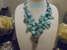 Gypsy Cowgirl Chic Gemmy Huge Turquoise Stone Slab Statement Necklace Raw Pyrite Nugget Dramatic Couture Posh XL BOLD SEXY  Gift 4 Her by gypsycowgirlchic on Etsy