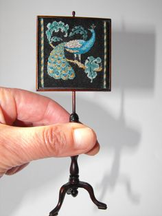 12th scale Peacock Victorian Tapestry Pole screen