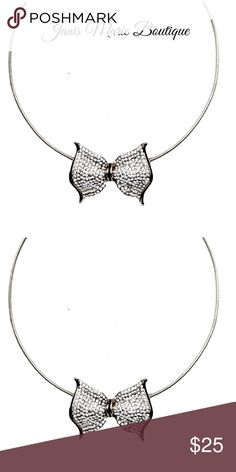 Silver | Pave Bow Choker SOON Discover the infinite styling possibilities of this one-of-a-kind necklace. Glass Pavé Crystal accents bring details to this classic silhouette.  ▪️18 Kt. Silver Plated Base Metals ▪️nickel-free ▪️lead-free Janis Marie  Jewelry Necklaces