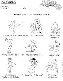 MinihogarKids: FICHA 1,2,3,4 y 5 PARA APRENDER LAS PROFESIONES Y COLOREAR (INGLÉS/ESPAÑOL) Community Helpers Worksheets, English Projects, Preschool Education, Teaching Spanish, Kids, Orchestra, World, Learning English, Social Studies