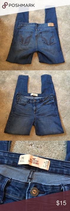 """Hollister Super Skinny Jeans Great condition! Loved but time to sell. These are a medium wash, but on the lighter end. These fit low rise and tight in the leg (they are stretch). 29.5"""" inseam and 4.5"""" leg opening. Hollister Jeans Skinny"""