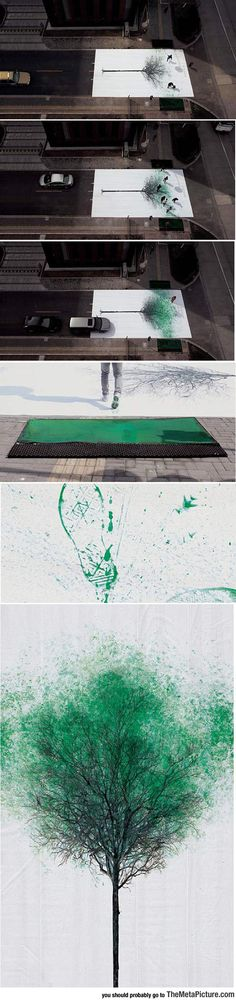 Pedestrian Crossing Turns Footsteps Into Leaves