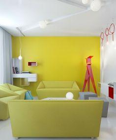 diseño de sala de estar de colores