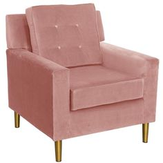 Pink Modern Buttoned Upholstered Chair