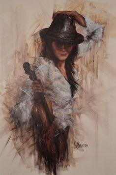Violinist with black hat.