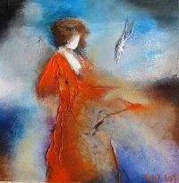 Elyza_13_05. Een schilderijtje van Wil Lof. Het formaat is 30 x 30 x 4 cm. Niet te koop. (als Caelin-papiergiclees beschikbaar)