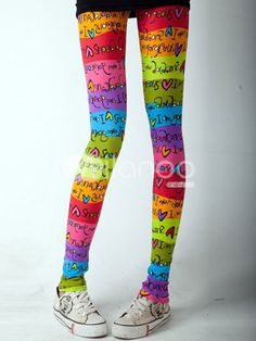 Lovely Colorful Polyester Spandex Womens Leggings - Milanoo.com