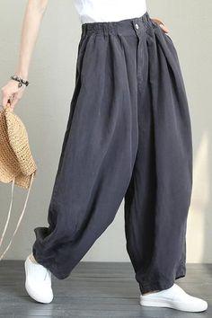 3b92002fb5d Casual Wide Leg Linen Pants Women Loose Trousers Q1290 Wide Leg Linen Pants