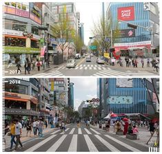 41 amazing public-space transformations captured by Google Street View  A widened, simplified crosswalk makes navigating Seoul's busy streets a little easier.
