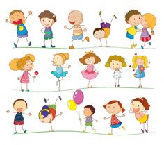Illustration of a group of mixed kids Free Vector
