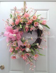 Spring Wreath.  Pink Daisy Spring Wreath. by JansElegantWreaths